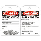 DANGER BARRICADE TAGS, 6x3, Rigid Vinyl